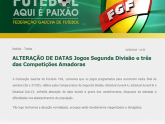 FGF emite Nota Oficial, alterando datas de jogos deste final de semana pela Série B