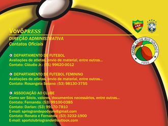 Direção Administrativa divulga contatos Oficiais do Sport Club Rio Grande