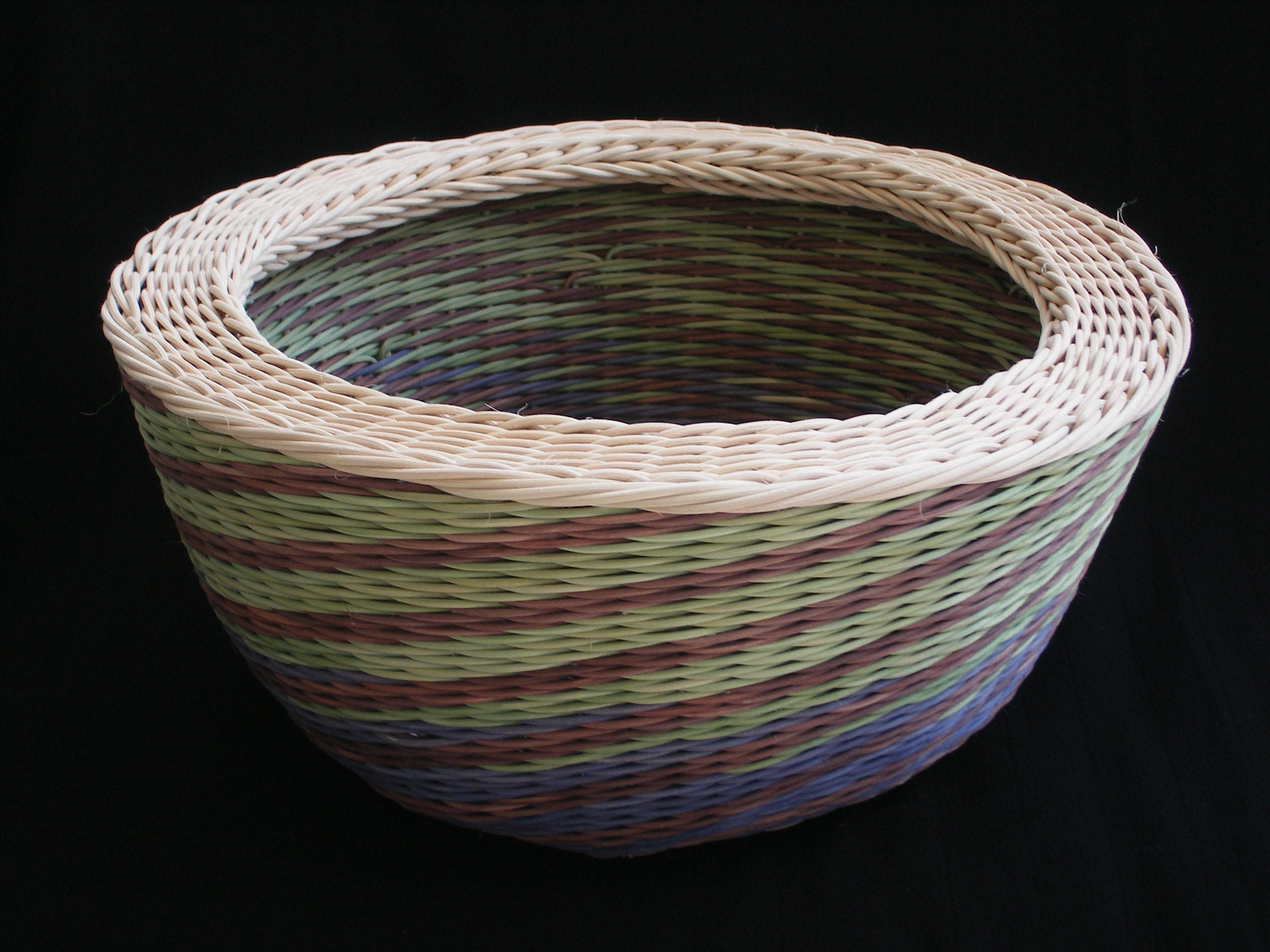 002 green, blue, brown, natural wicker spiral