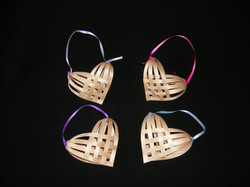 Woven Heart Ornaments - Black Ash