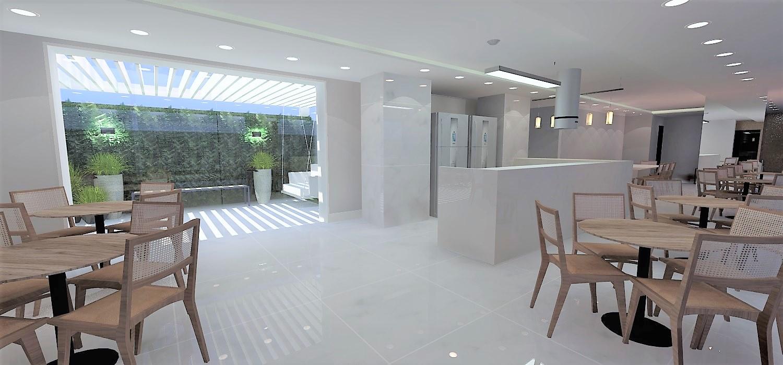 Área externa integrada ao salão