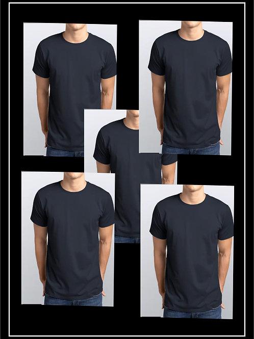 Pack 5 Camisetas Azul Marinho / 100% Algodão Malha 3.1 Penteada