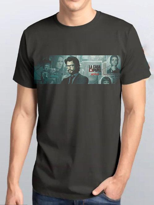 Camiseta Preta / La Casa de Papel Oficial Netflix / Prof. Font