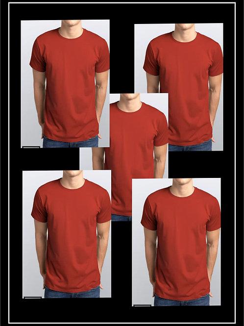 Pack 5 Camisetas Vermelhas / 100% Algodão Malha 3.1 Penteada
