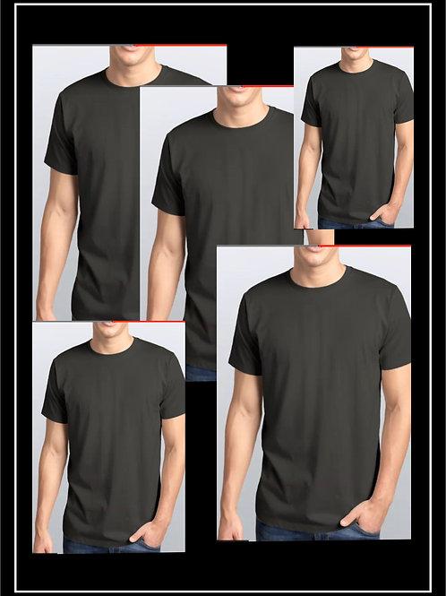 Pack 5 Camisetas Pretas / 100% Algodão Malha 3.1 Penteada