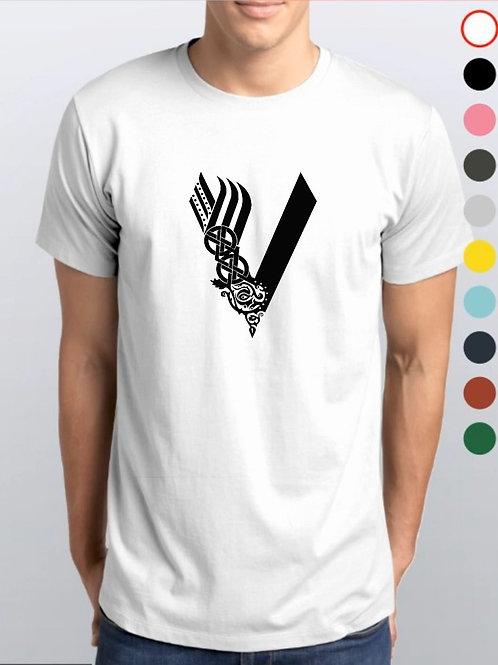 Camiseta Branca / Vikings Oficial Netflix / V