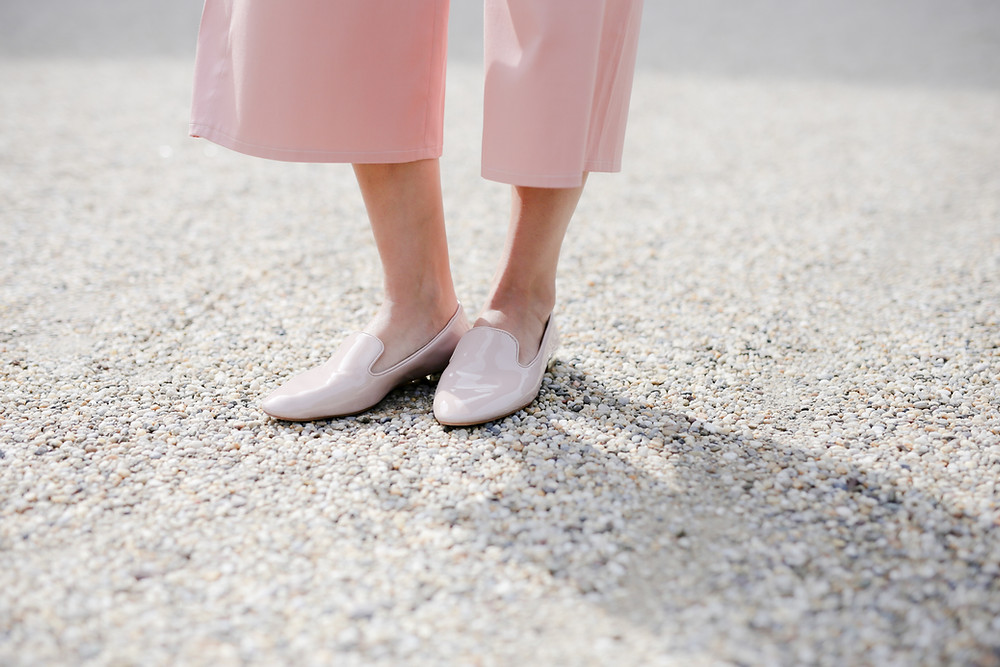 Girl in pink shoes