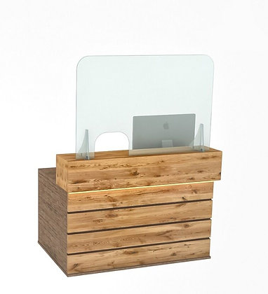 Reception Counter Cough Screen / Sneeze Guard 120cm x 80cm L/R opening