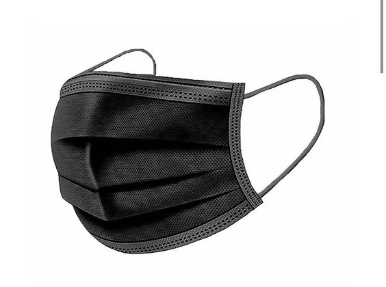 Black Disposable Face Mask - Pack of 50
