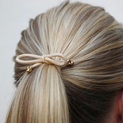 Corinne Hair Tie Bow Knots-Cream