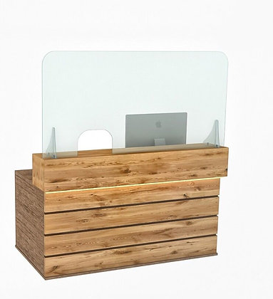 Reception Counter Cough Screen / Sneeze Guard 160cm x 80cm L/R opening