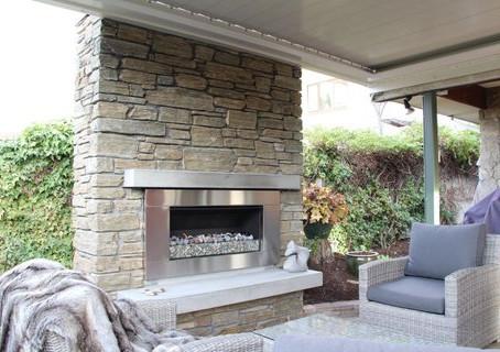 Ida Schist Stone Outdoor Fireplace