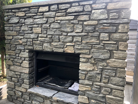 Alexandra Stone Grey Schist Outdoor Fireplace.  quality suppliers of schist stone....