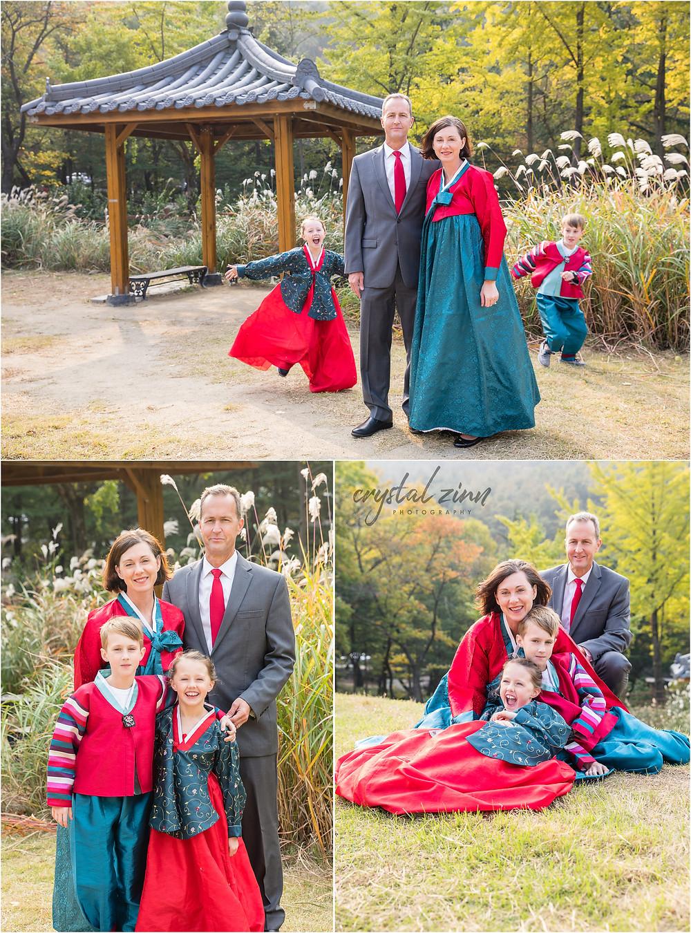 fun family portrait session in Daegu, South Korea in the autumn