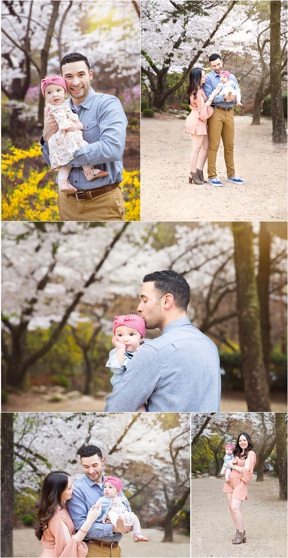 portrait collage of mom and dad and young daughter