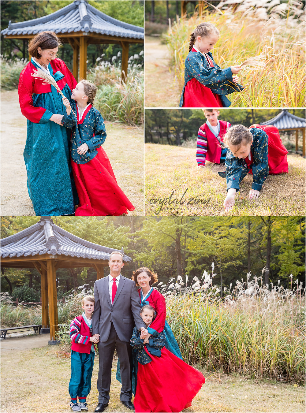 family portrait session in Daegu, South Korea, young girl, outside, mother, young boy, father