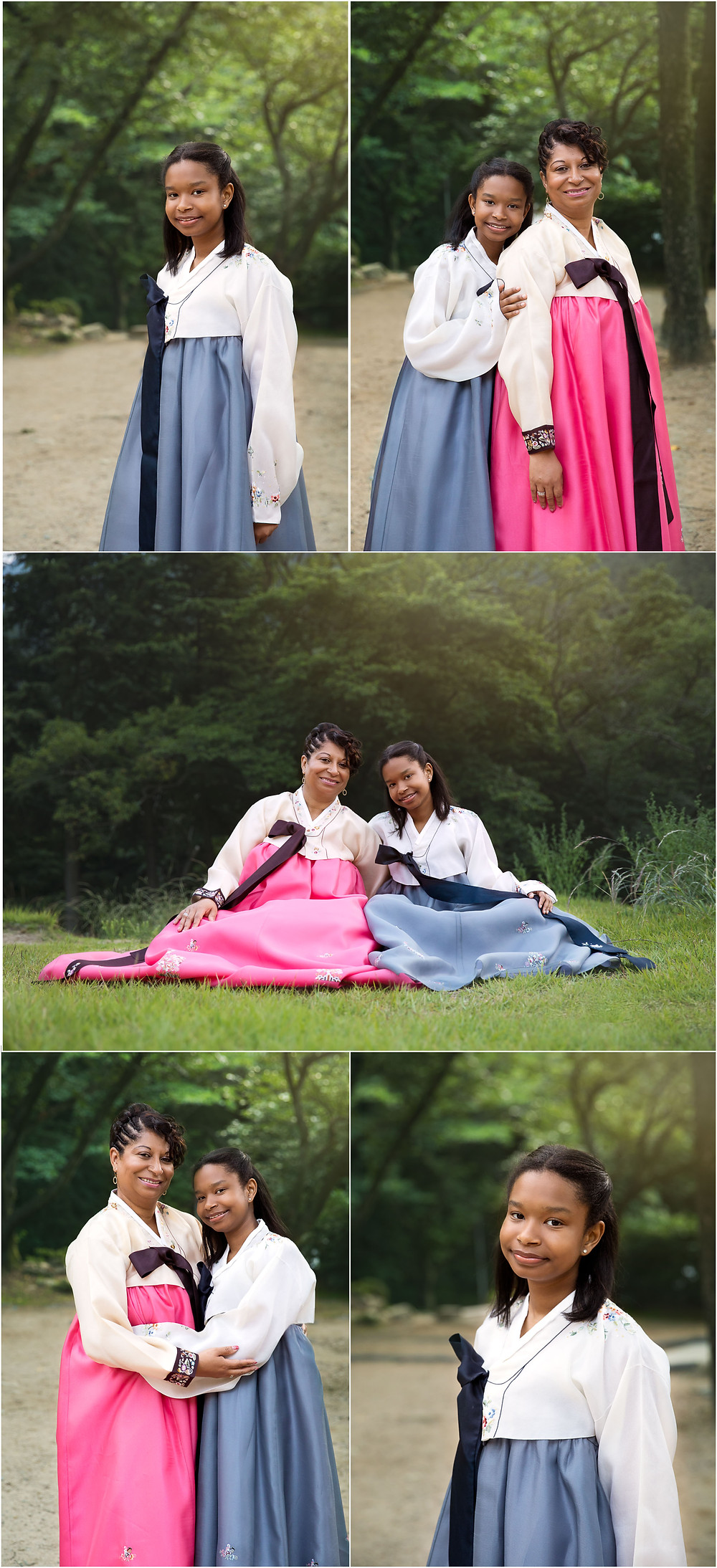 mother and daughter portraits, outdoor, Korean hanbok