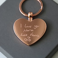 Rose Gold Hearts Forever Keychain With Handwriting Engraving £27.99