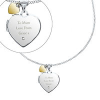 Personalised Sterling Silver Heart Locket Necklace W/ Diamond & 9ct Gold Charm    £54.99