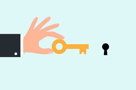 Vector illustrator: pointing a key at a keyhole