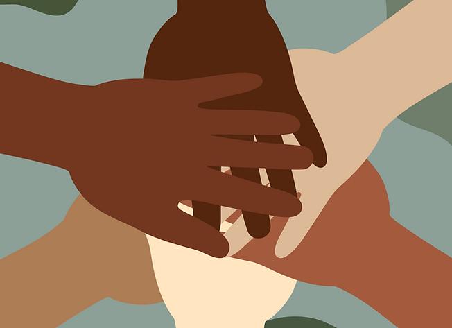 Illustration: multi-colored hands piling together