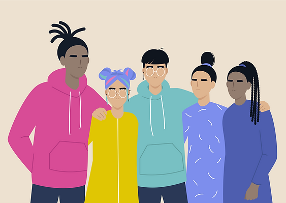 Illustration: group of intersectional embracing