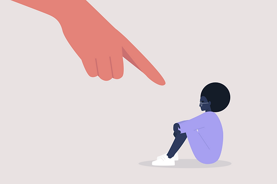 Illustration: finger pointing at a small figure