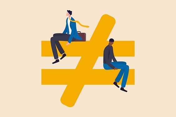 Illustration: two men sitting on an uniqual symbol