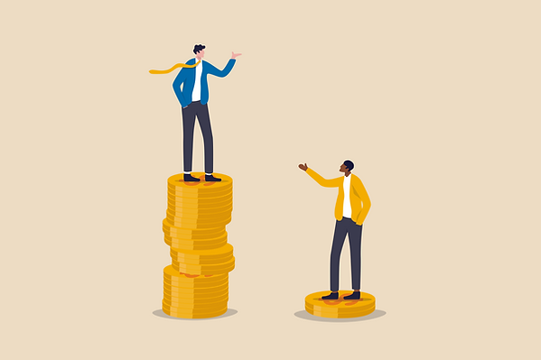 Vector illustration: light-skinned man standing on a tall stack of coins, black man on a stack of 2 coins