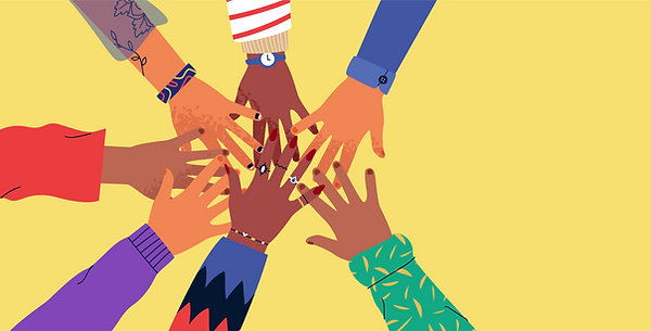 Vector illustration: diverse hands reaching into each other