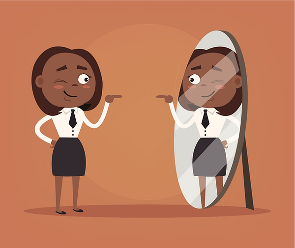 Illustration of a dressed up black woman looking at a mirror