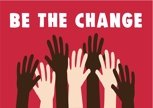 """Vector illustration: hands reaching up to the slogan """"Be The Change"""""""