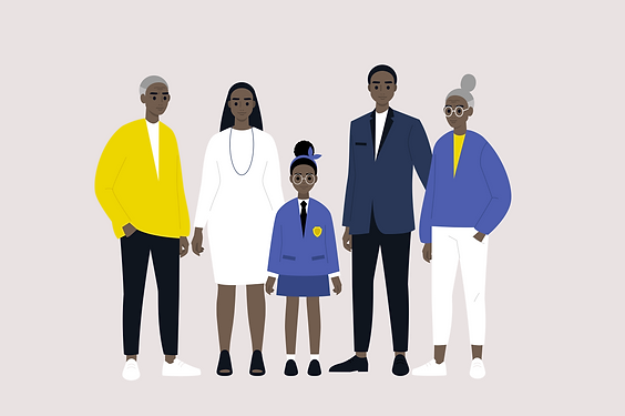 Vector illustration: extended black family