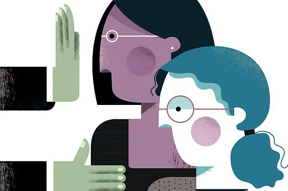 Illustration: hands blocking two women