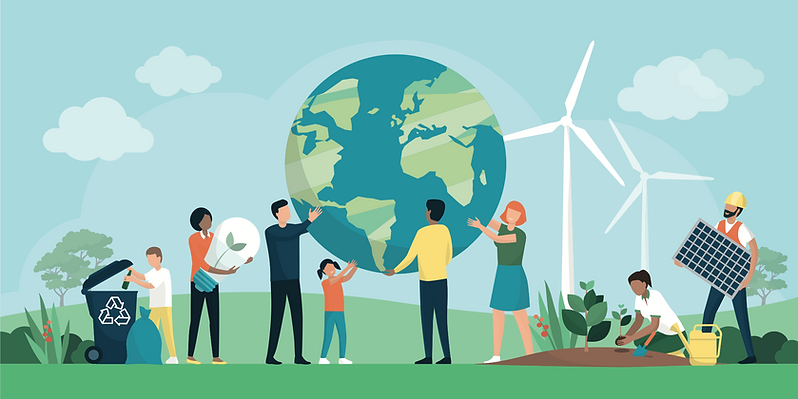 Vector illustration: community holding up the planet, composting, and planting trees