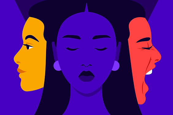 Illustration: 3 woman face in different colors