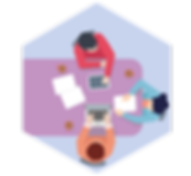 People at desk hexagon.png