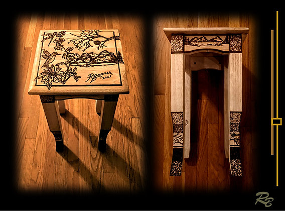 Tea table, Accent Table, side table, Wood burned,  wood accent table