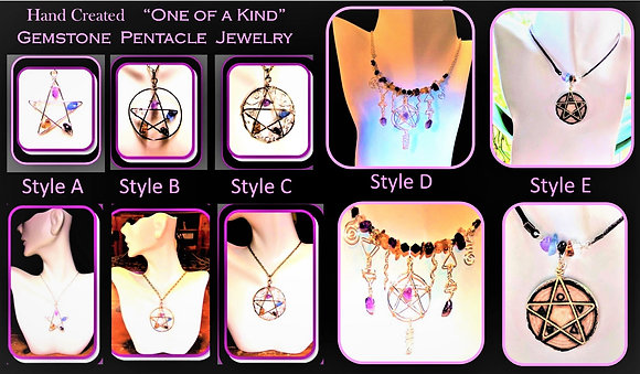 wicca, jewelry, necklace, pentagram, pentacle,alter pentacle,wand, amethyst