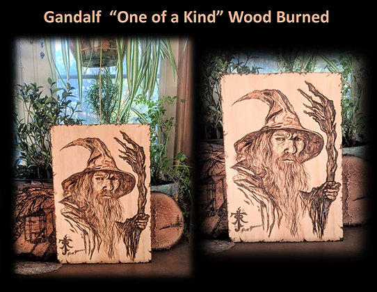 wood burned, gandalf, lord of the rings,art gift