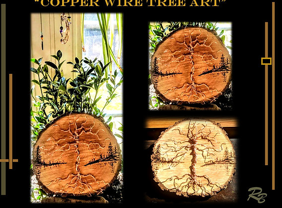 Copper wire tree, girlfriend gift, HEARTS, wife gift, wood anniversary gift