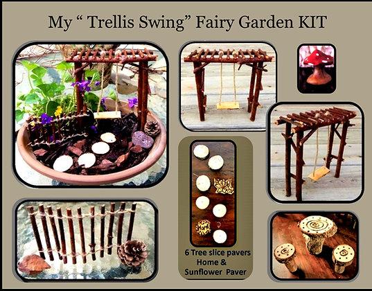 Trellis swing,fairy garden kit,flower pot garden,kids garden,fairy gardens,fairy