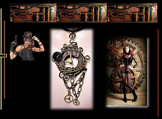 clock,necklace, steampunk,Steampunk wedding, necklace,Clock,Ste
