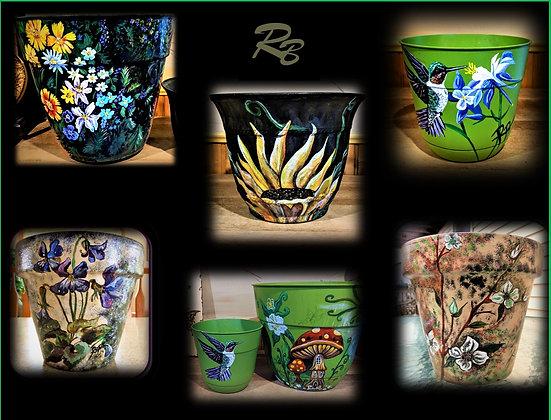 Mother gift, flower pot, hand painted, hostess gift, garden