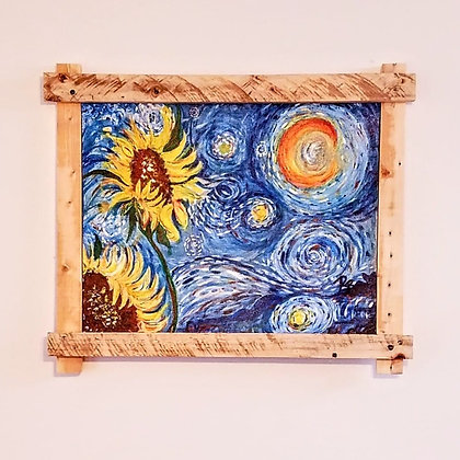 """Sunflower Starry Night painting, """"One of a Kind"""" Original painting,"""