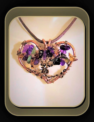 Amethyst, Heart necklace, February, Valentines gift,wife, gift,mother