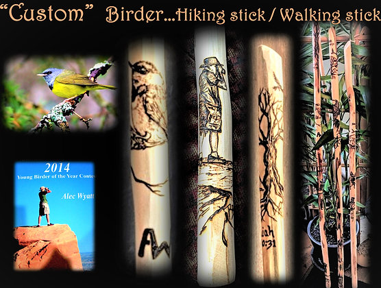 birder, hikier, walking stick,hiking stick, wood anniversary, retirement gift,tr