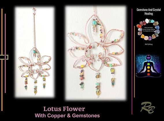 Lotus flower, suncatcher, garden decoration, copper,gemstones,mother,gift