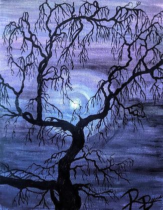 Night, tree painting, Original painting, black tree, purple and black