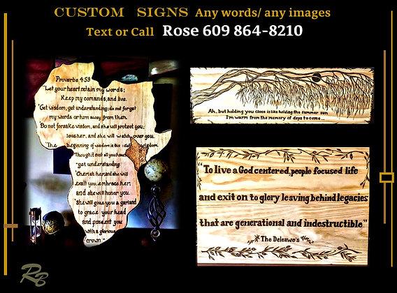 Custom SIGNS, Personalized, wood signs, Custom, wood burned, art